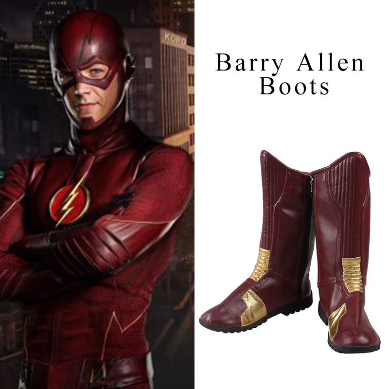 Manles The Flash Boots Superhero Costume The Flash Barry Allen Cosplay Costume Accessor Custom Made Replica Props