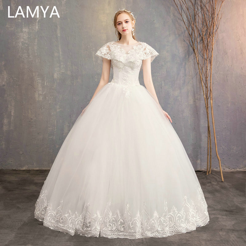 LAMYA Princess Backless Wedding Dresses Lace Cap Sleeve Bridal Gowns Floor Length Elegant Wed Dress Ball Gown Vestidos De Noiva