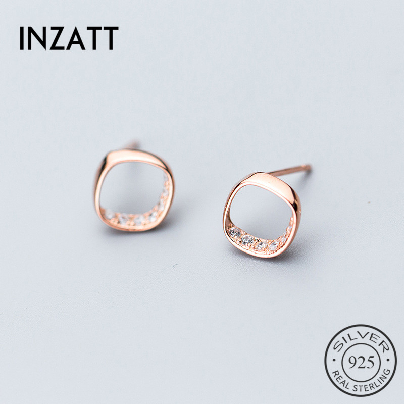 INZATT Classic Zircon Stud Earrings Rose Gold Color For Women Anniversary Fashion Jewelry 925 Sterling Silver Accessories Gift