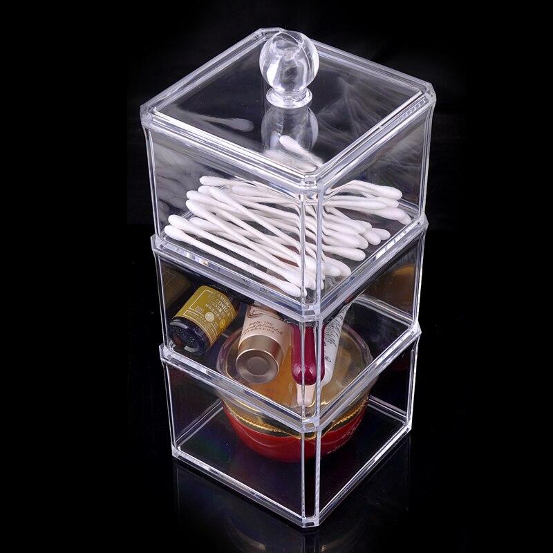 3 Layer Plastic Acrylic Cotton Swab Box Cotton Bud Holder Small Cosmetic Items Storage Organizer