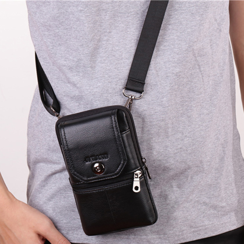 Men Cross Body Cell Phone Case Waist Belt Pack Bag Purse Hook Vertical Male Genuine Leather Small Shoulder Fanny Messenger Bags