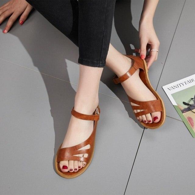 c6e19f4d EOEODOIT lato płaski obcas sandały Open Toe skórzane na co dzień Plus  rozmiar kobiety rzym styl matka kobiet mieszkania buty