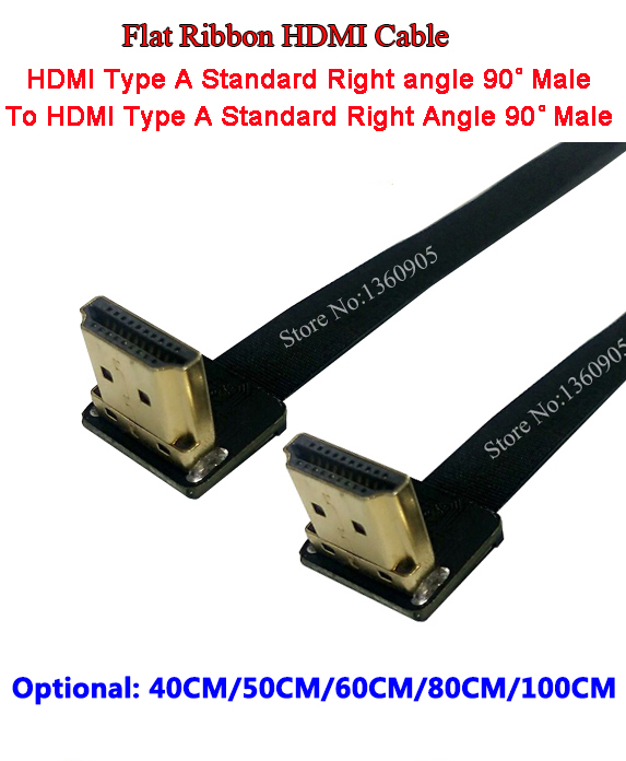 40CM/50CM/60CM/80CM/1M Flat Ribbon Cable Soft Flex HDMI Cable Up Angle Standard Male to Male HDMI Standard Right Angle 90 Degree 1m hdmi to hdmi cable