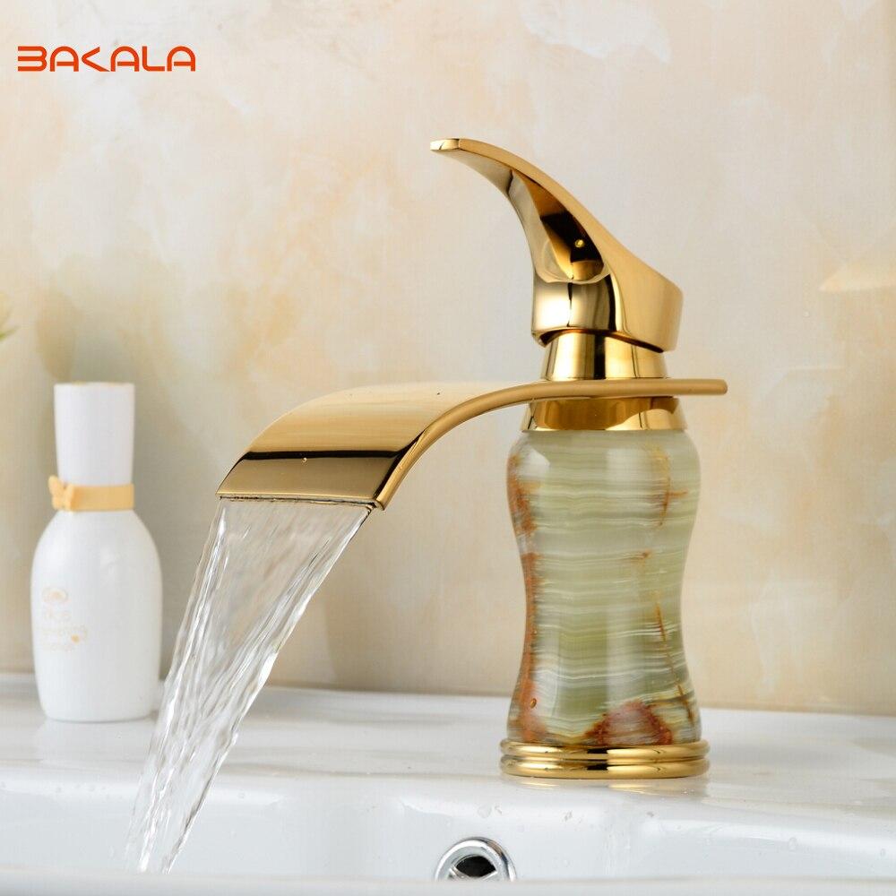 BAKALA New Deck mounted brass and Jade faucet Bathroom Basin faucet Mixer Tap Gold Sink Faucet
