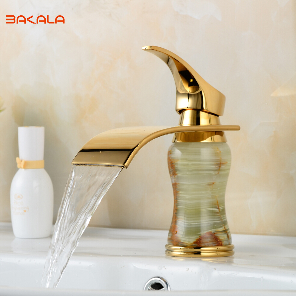 BAKALA New Deck mounted brass and Jade faucet Bathroom Basin faucet Mixer Tap Gold Sink Faucet Bath Basin Sink Faucet B-1004M bakala free shipping bathroom basin sink faucet wall mounted square chrome brass mixer tap with embedded box lt 320r