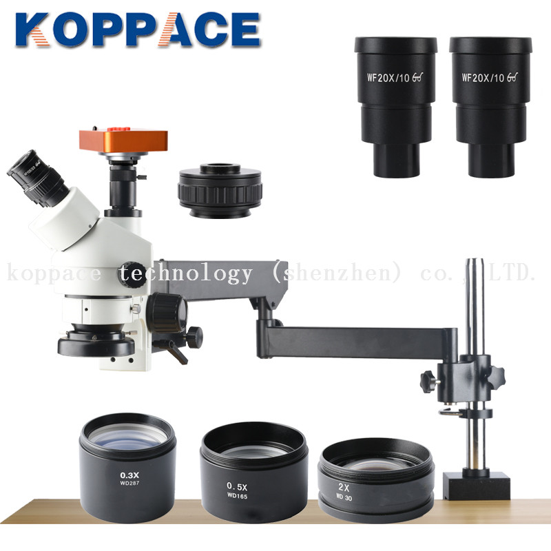 KOPPACE 2.1X 180X,21MP Full HD 1080P 60FPS HDMI Industry Microscope,0.7X 4.5X Zoom Objective,Trinocular Stereo Microscope-in Microscopes from Tools    1