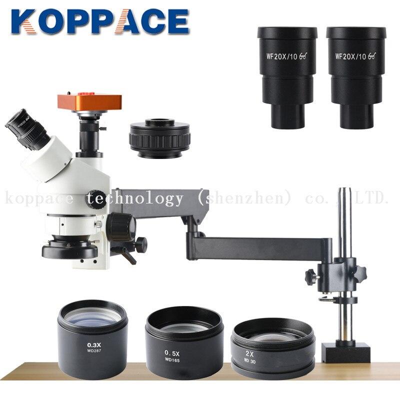 KOPPACE 2.1X-180X, Microscópio Indústria 60FPS 21MP Full HD 1080 P HDMI, 0.7X-4.5X Objectiva com Zoom, Trinocular Microscópio Estéreo