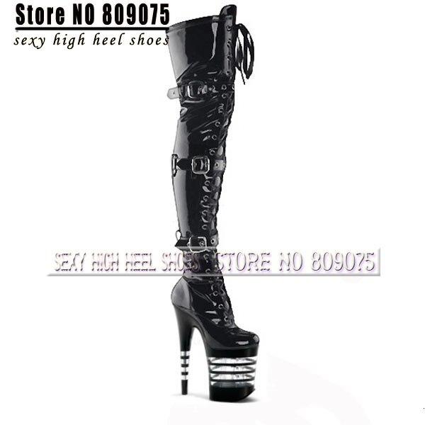 Drop 8 Inch Thigh High Boots Stiletto Heels Platform Over The Knee Boots  Black High Heels 20cm Fashion Sexy Star Women Boots 631a0d606