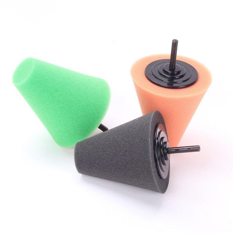 SPTA Burnishing Foam Sponge Polishing Cone Shaped Buffing Pad Car Wheel Hub Tool