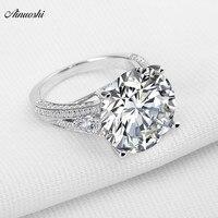 AINOUSHI Big Luxury Wedding Ring Round Cut Sona Genuine 925 Solid Sterling Silverfor Women Engagement