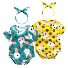 2017 Summer New baby girl sleeveless one-piece headband romper newborn baby girl clothes set romper clothing