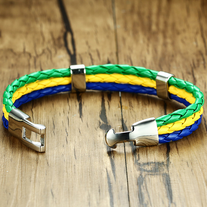 6 PCS National Flags Bracelets Sports 3 Strands Rope Braided Surfer Leather Brackelts Fashion Men Women Jewelry 8.4 in