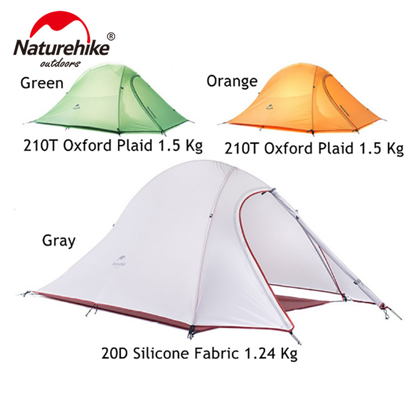 Naturehike Tent 1.2kg 20D Silicone Fabric Ultralight 2 Person Double Layers Aluminum Rod Camping Tent 4 Season With Mat naturehike 3 person camping tent 20d 210t fabric waterproof double layer one bedroom 3 season aluminum rod outdoor camp tent