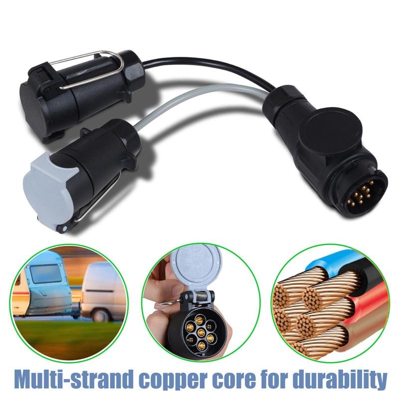 13 to 7 Pin Trailer Light Board Extension Adaptor Socket Plug Caravan Towing UK