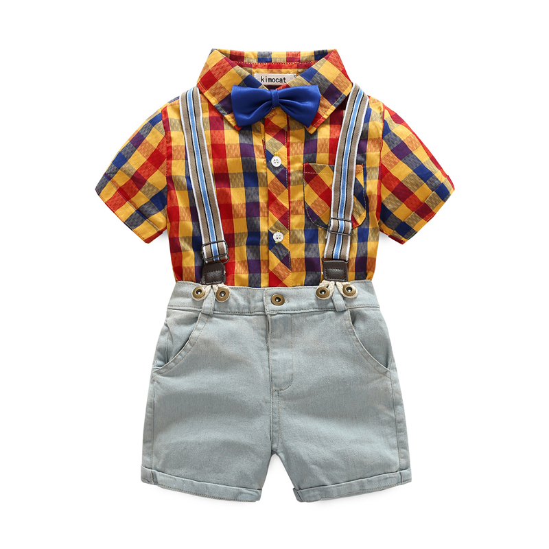 Baby Boy Clothes set 2018 Spring New Gentleman Plaid Clothing Suit For Newborn Baby Bow Tie Shirt + Suspender Trousers 5 years 2018 spring newborn baby boy clothes gentleman baby boy long sleeved plaid shirt vest pants boy outfits shirt pants set