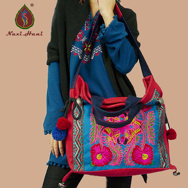 ФОТО Newest Thailand red canvas embroidery women handbags Fashion ladies lagre shoulder bags Ethnic casual travel bags