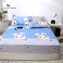 Slowdream 1PCS Cartoon Rabbit Bed Fitted Sheet On Elastic Band With Rubber Corners Double Single Mattress Covers Linen