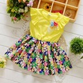 Summer Ruffles Short Sleeve FFlower Cute baby girls kids Children casual dresses,Tutu Floral Princess infant Dress S2908