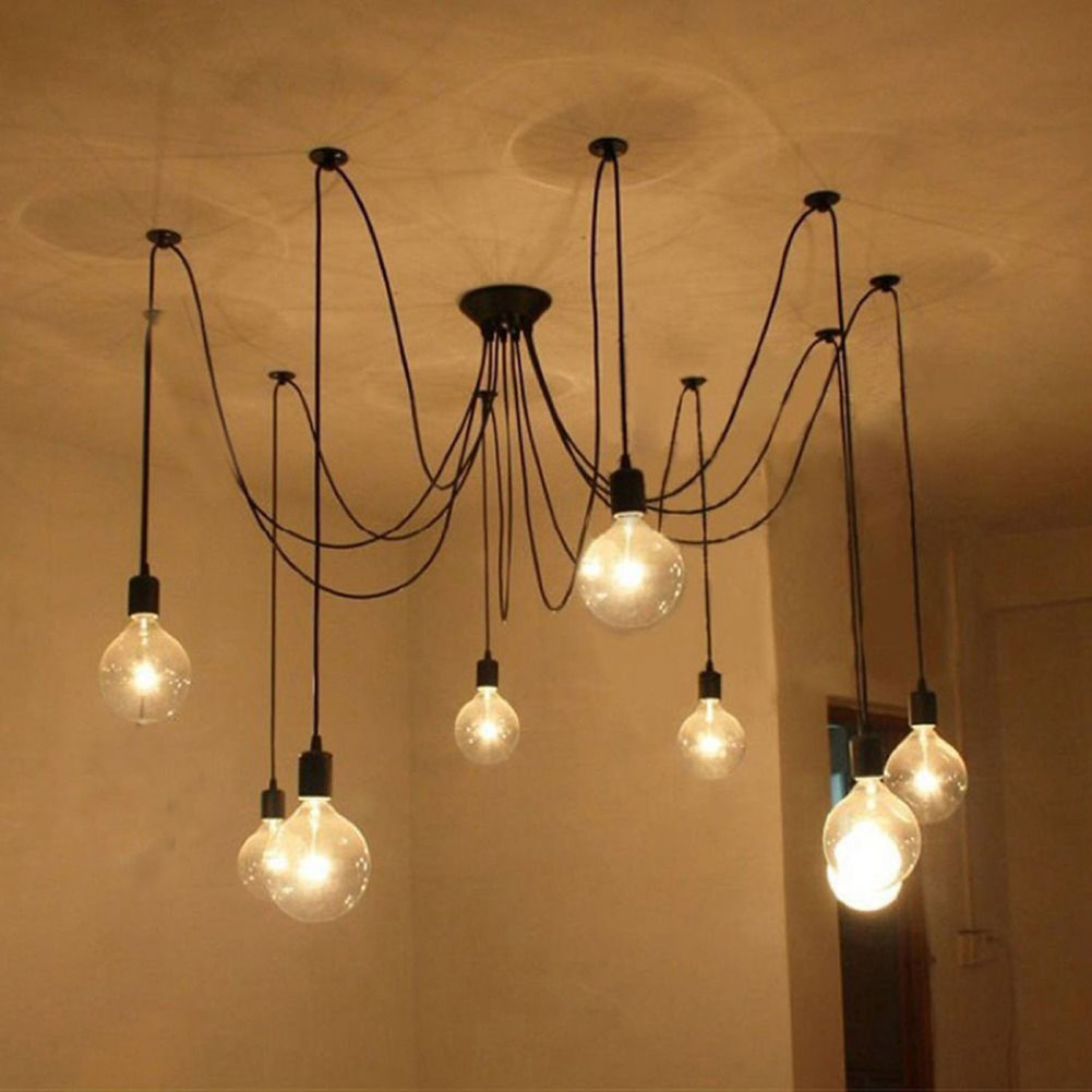 Vintage Edison Ajustable DIY Ceiling Spider Lamp Light Pendant Light Modern Chic Hanging Lamps 6/8/10/12/14 Heads Optional modern fashion large spider braided chandeliers white black fabric shades diy 10 heads clusters of hanging ceiling lamp lighting