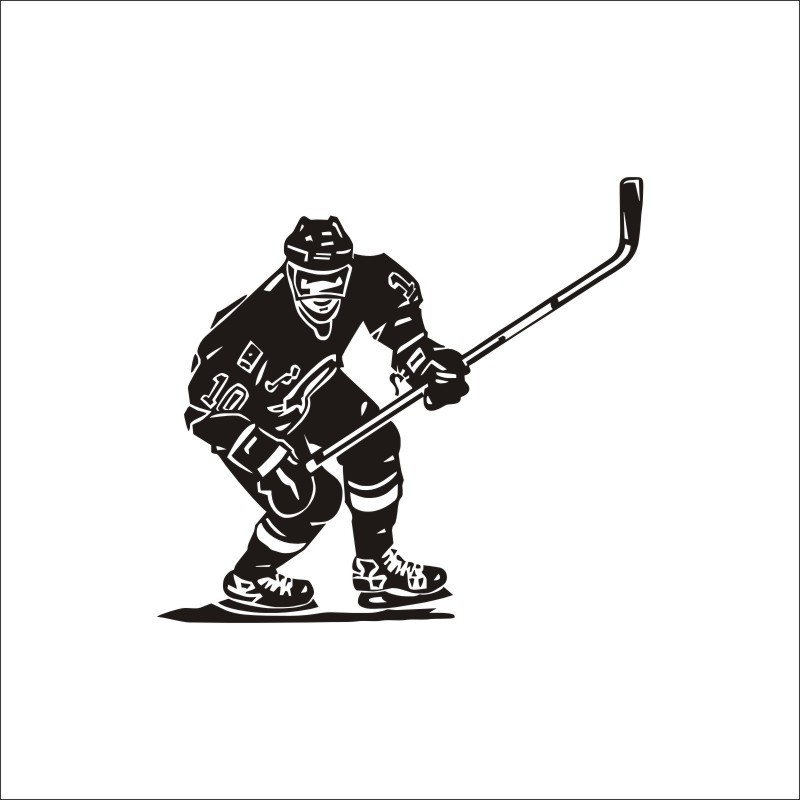 Wall Decal Ice Hockey Player Sport game Skate boy Sticker For Bedroom
