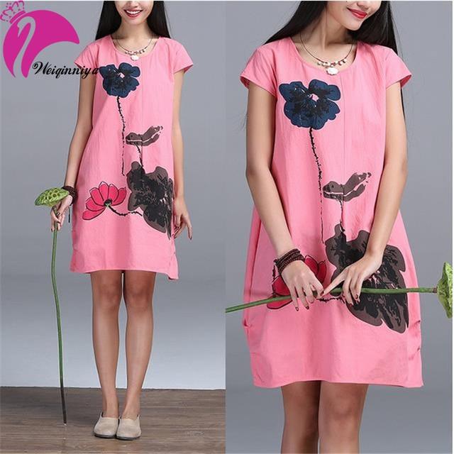 New Brand 2016 Pregnant Women Dress Cotton Linen Cool Summer Loose Casual Print Ruffles Casual Dresses For Gravida Maternity