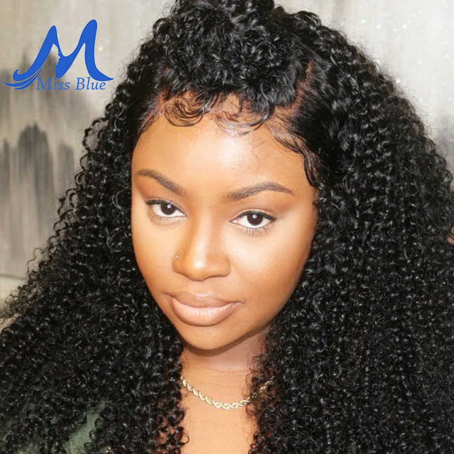 Missblue Mongolian Kinky Curly Human Hair Wig With Pre Plucked Hairline For Women Remy Lace Front