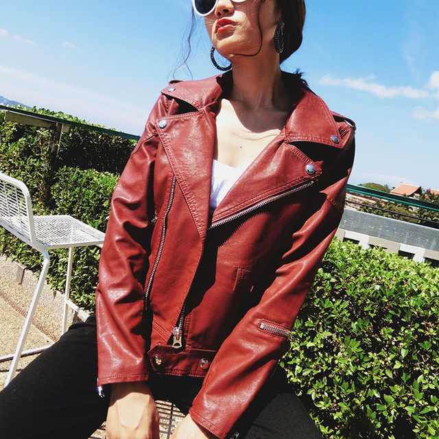 44718b596b1 Brand Motorcycle PU Leather Jacket Women Winter And Autumn New Fashion Coat  4 Color Zipper Outerwear jacket New 2019 Coat HOT