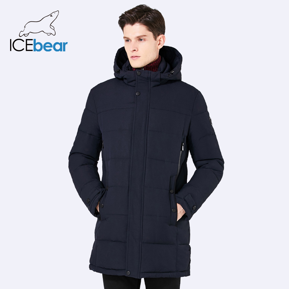 Icebear 2017 мягкая Ткань зима Для мужчин куртка утепленная Повседневное хлопковая куртка Зимние-длинная парка Для мужчин 17MD962D