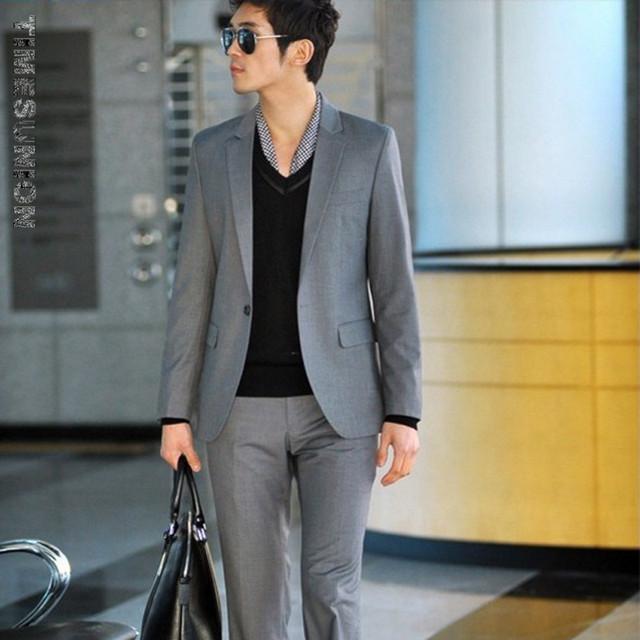 (Chaqueta + Pantalones) los hombres Trajes Slim Fit Plus Tamaño XS-3XL Mens Trajes de Boda Blanco Con Pantalones Para Hombre de Negocios Formal Wear XZ45