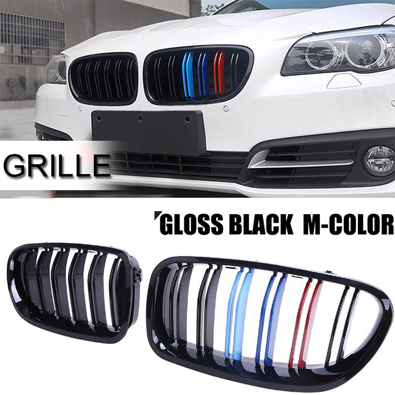 One Pair  Gloss Black M Color Front Grille For BMW F10 F11 520i 528i 535i 550i 10 16 M5-in Racing Grills from Automobiles & Motorcycles    1