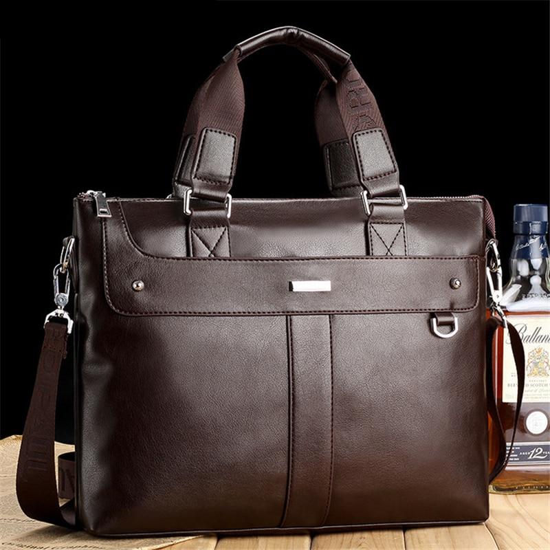 Fashion Men S High Quality Leather Business Briefcase Laptop Bag Casual Horizontal Style Menssenge Shouler Bag