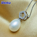 """iVeeka New Design Water Drop Freshwater Pearl Pendant Necklaces with 16"""" 925 Sterling Silver Necklace Chain"""
