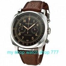 PARNIS 45mm nueva moda de alta calidad movimiento de cuarzo Japonés café caja de plata dial reloj hombre 0263aaa