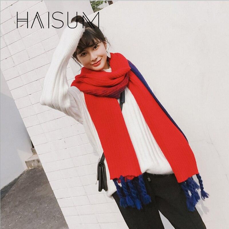 2018 Special Offer Real Scarf Haisum Fashion Classic Style Neckerchief Knit Ladys Scarfs Long Warm Tassel Shawls 5 Color W019