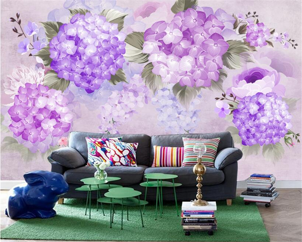 US $8.1 46% di SCONTO|Beibehang 3d carta da parati soggiorno camera da  letto murales pastorale dipinto a mano viola ortensia divano a muro per TV  ...