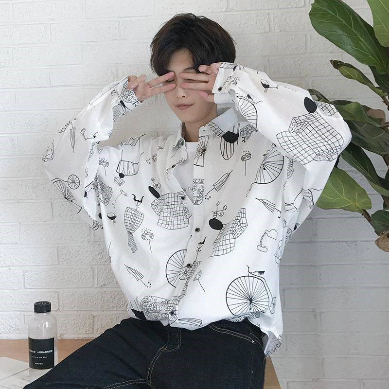 Japanese Printed Long Sleeve Shirts Mens Harajuku Style Hawaiian Shirts Male Casual Shirts Streetwear Fashion Korean Shirt Male