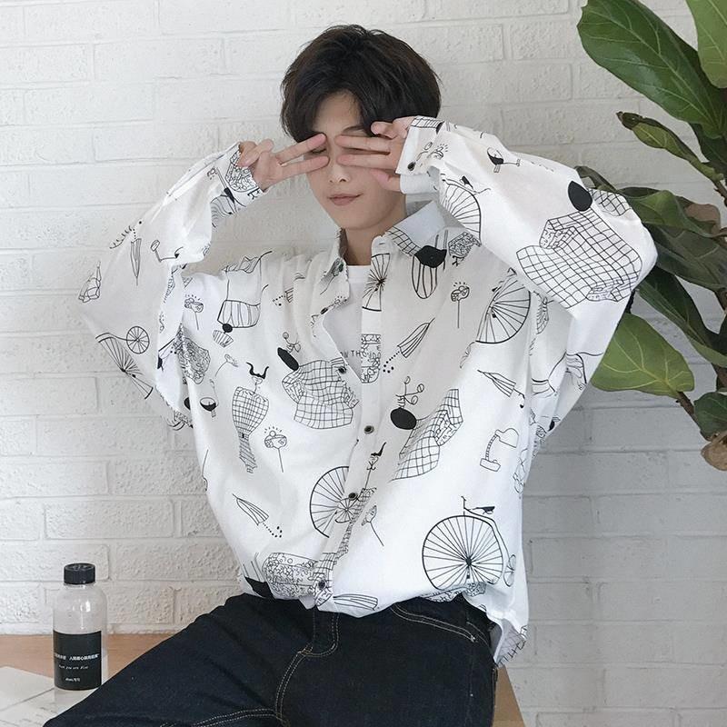 Japanese Printed Long Sleeve Shirts Mens Harajuku Style Hawaiian Shirts Male Casual Shirts Streetwear Fashion Korean Shirt Male