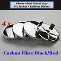 4 pcs 68 MM De Fibra De Carbono Preto/Vermelho Emblema Etiqueta do Centro de Roda Do Carro E46 E90 E66 E38 E39 E60 E53 E70 E83 e85 logotipo do Cubo de Roda Auto Cap