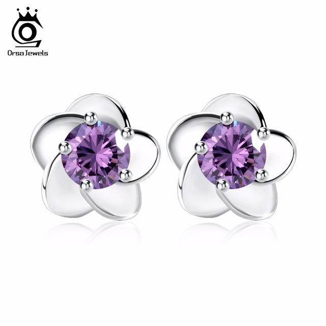 Orsa Jewels Flowers Earrings Studs Aaa Purple Clear Austrian Cubic Zirconia For Women Engagement Wedding