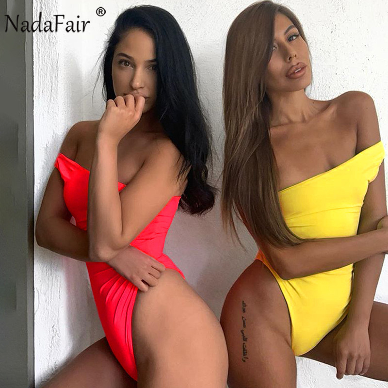 Nadafair One Shoulder Off Women Sexy Bodysuits Summer One Piece Casual Bodycon   Jumpsuits   Women Solid Summer Body Tops Femme