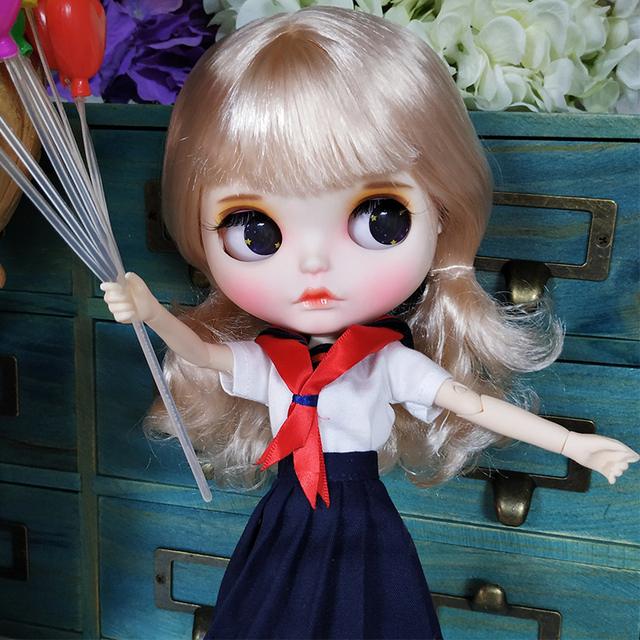 Rosie – Premium Custom Blythe Doll with Clothes Thinking Face