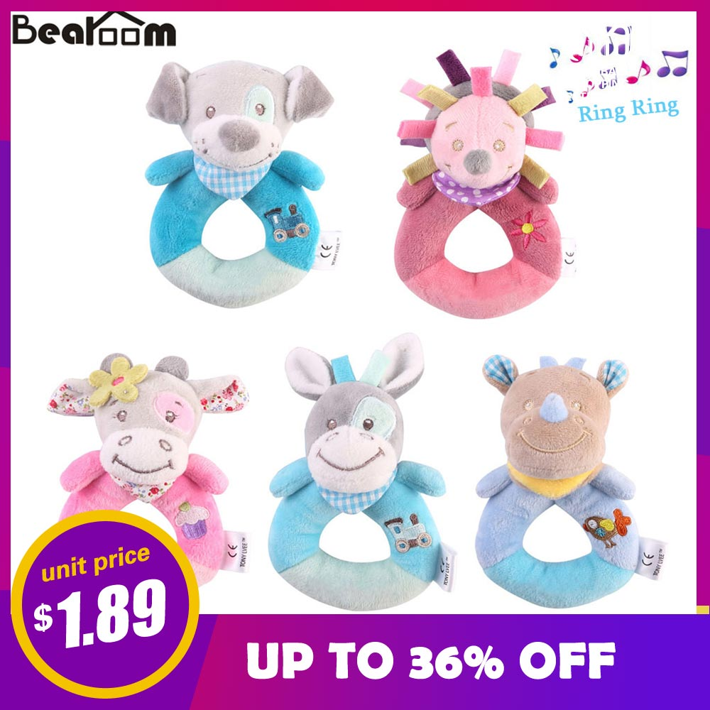 Bearoom Baby Rattles Mobiles Cartoon Toys For Baby Animal Hand Bell Cute Dog Rattle 0-12 Months Toy Learning Education Resource cute baby rattle bath toy squeeze animal rubber toy duck bb bathing water toy race squeaky yellow duck classic toys reborn gift