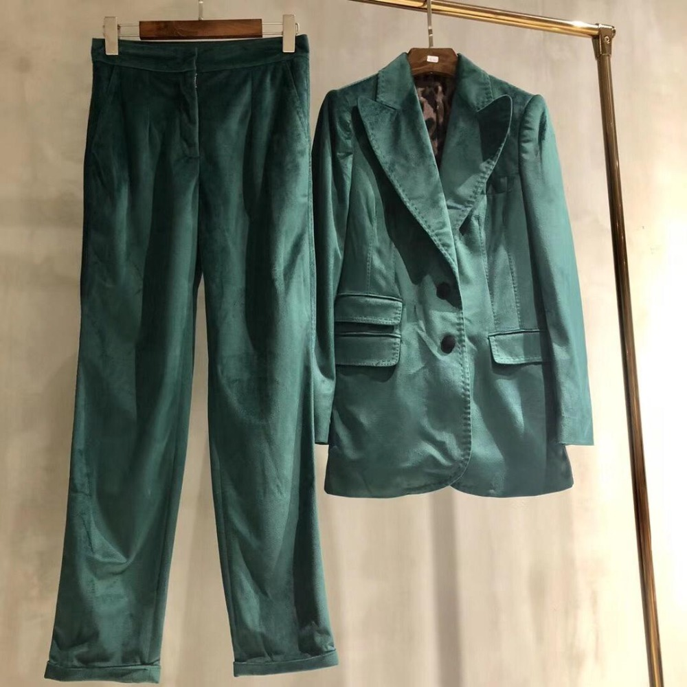 2019 high quality velvet suit button pocket jacket trousers two sets 0315