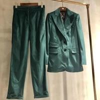 2019 Высокое качество бархатный костюм кнопка карман куртка + брюки два комплекта 0315