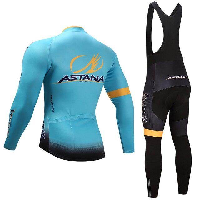 Primavera outono 2018 da equipe astana manga longa conjunto camisa de ciclismo Ropa ciclismo respirável roupas de corrida de bicicleta MTB Bicicleta 19D gel pad 1