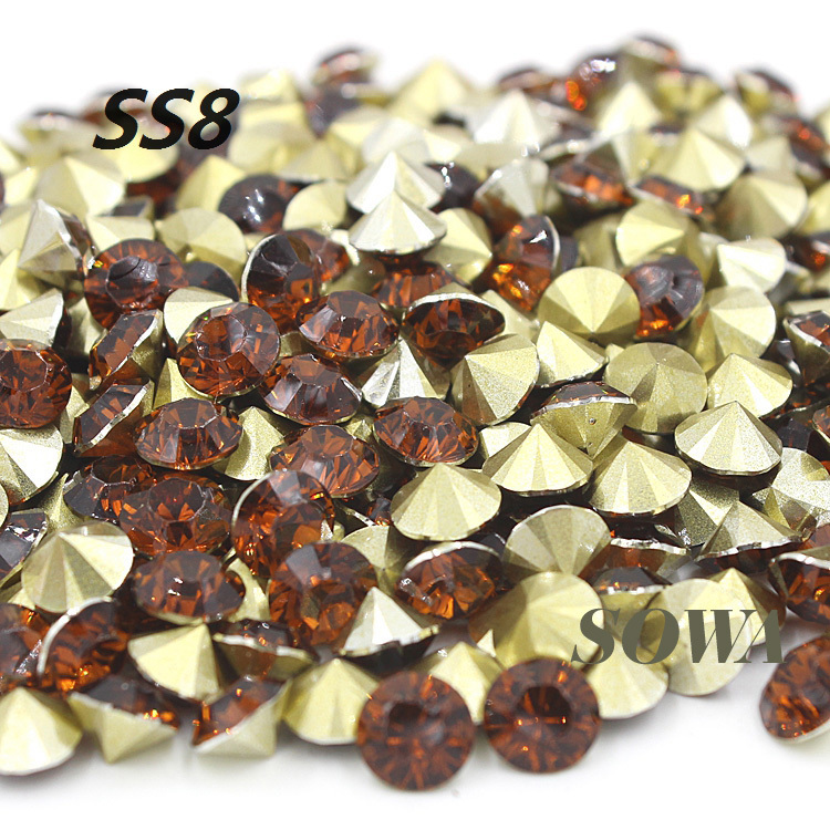 Free Shipping 1440pcs SS8(2.3-2.4mm) Fashion Brown Color Resin Pointback For Bags/Garment/Shoes DIY