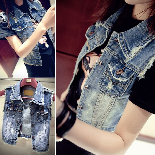 Womens Denim Vests New 2016 Spring Autumn Sleeveless Ripped Holes Button Fashion Jeans Vest Tops S-L Colete Feminino Wholesales