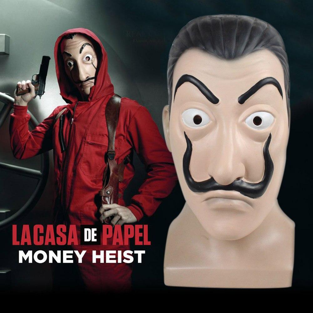 US $10 49 30% OFF|Dali Mask LA CASA De Papel Money Heist Salvador Dali  Cosplay Realistic Face Mask Latex Faunny Mask Halloween Party Costume-in  Boys