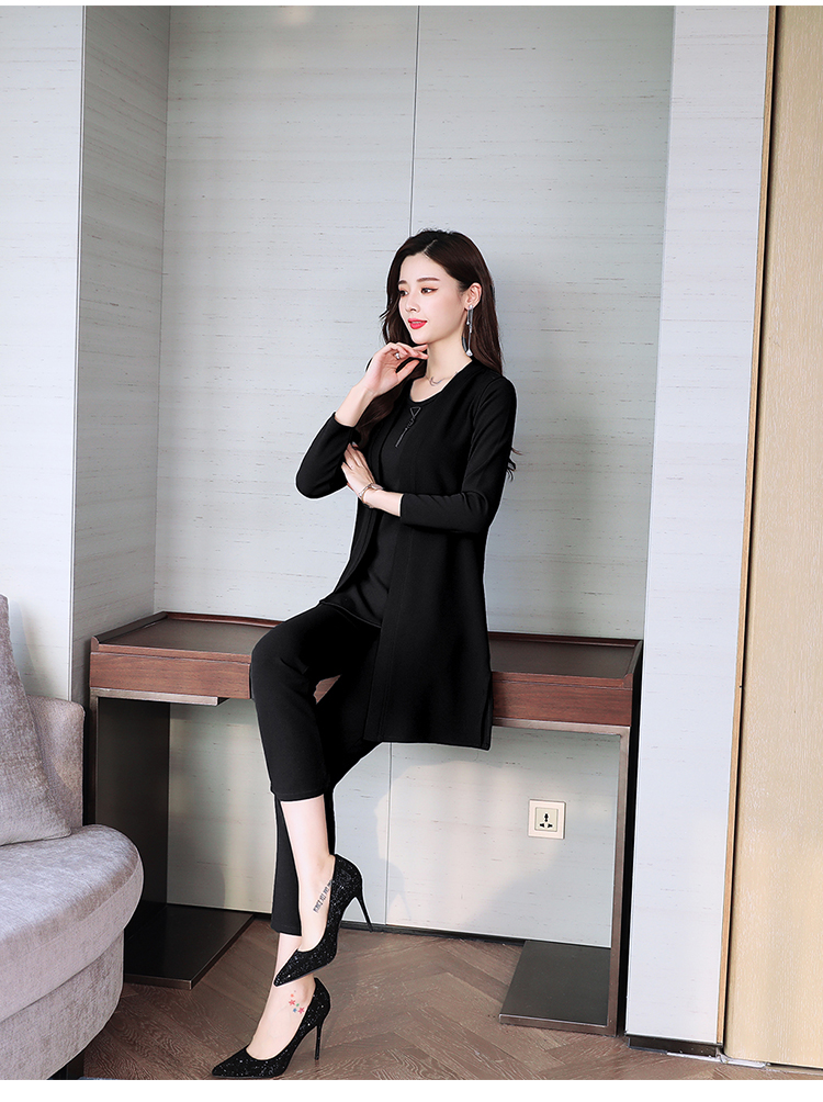 Spring Autumn 3 Piece Set Women Long Coat T-shirt And Pants Sets Casual Elegant Three Piece Sets Suits Women's Costumes 63