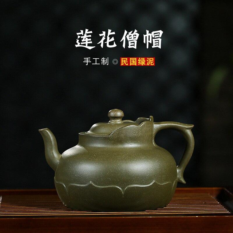 Normal School Jun Yu Monk Hat Dark red Enameled Pottery Teapot Pure Manual Raw Ore The Republic Of China Green Mud Teapot